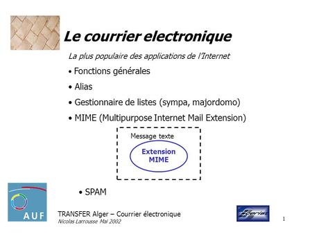 TRANSFER Alger – Courrier électronique Nicolas Larrousse Mai 2002 1 Le courrier electronique La plus populaire des applications de lInternet Fonctions.