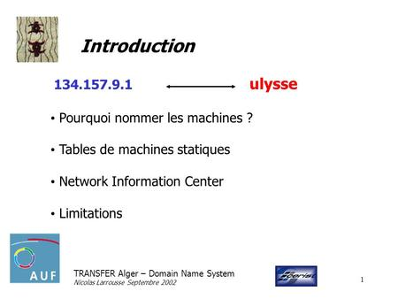 TRANSFER Alger – Domain Name System Nicolas Larrousse Septembre 2002 1 Introduction 134.157.9.1 ulysse Pourquoi nommer les machines ? Tables de machines.