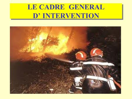 LE CADRE GENERAL D' INTERVENTION