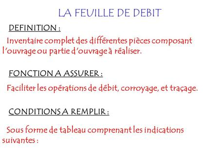 LA FEUILLE DE DEBIT DEFINITION :