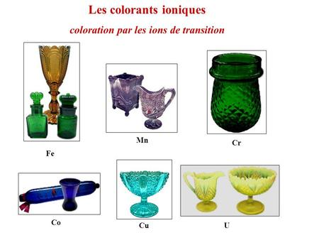 Co Cr Cu Fe Mn Les colorants ioniques U coloration par les ions de transition.