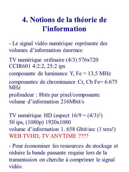 4. Notions de la théorie de l'information