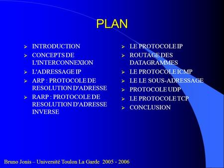 PLAN INTRODUCTION CONCEPTS DE L'INTERCONNEXION L'ADRESSAGE IP ARP : PROTOCOLE DE RESOLUTION D'ADRESSE RARP : PROTOCOLE DE RESOLUTION D'ADRESSE INVERSE.