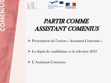 PARTIR COMME ASSISTANT COMENIUS