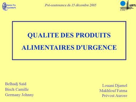 ALIMENTAIRES D'URGENCE