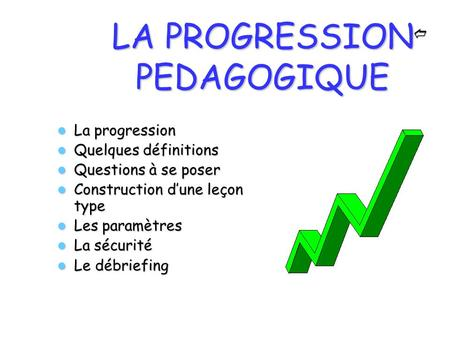 LA PROGRESSION PEDAGOGIQUE La progression La progression Quelques définitions Quelques définitions Questions à se poser Questions à se poser Construction.