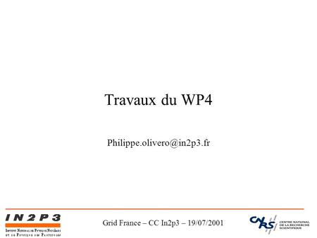 Grid France – CC In2p3 – 19/07/2001 Travaux du WP4