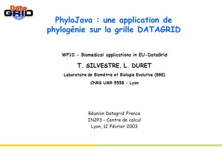 PhyloJava : une application de phylogénie sur la grille DATAGRID WP10 - Biomedical applications in EU-DataGrid T. SILVESTRE, L. DURET Laboratoire de Biométrie.