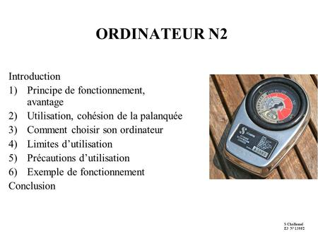 ORDINATEUR N2 Introduction Principe de fonctionnement, avantage