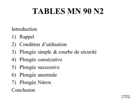 TABLES MN 90 N2 Introduction Rappel Condition d'utilisation
