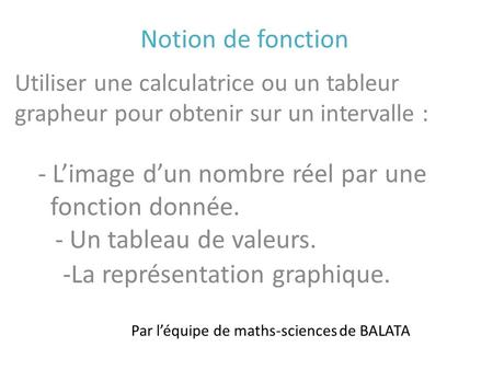 Par l'équipe de maths-sciences de BALATA