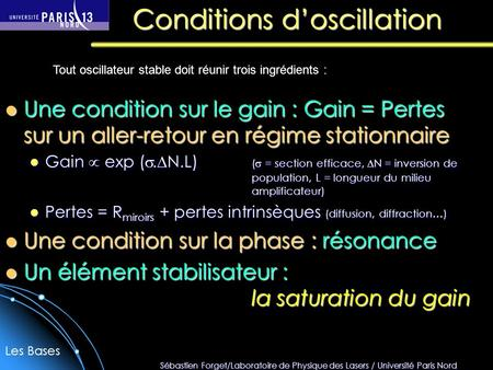 Conditions d'oscillation