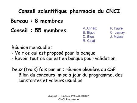 Conseil scientifique pharmacie du CNCI