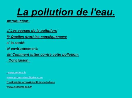 La pollution de l'eau. Introduction: