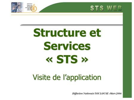 Diffusion Nationale TOULOUSE -Mars 2006 Structure et Services « STS » Visite de lapplication.