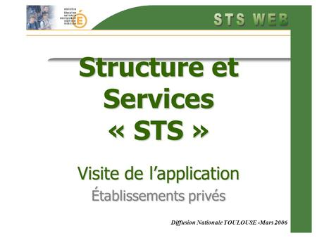 Diffusion Nationale TOULOUSE -Mars 2006 Structure et Services « STS » Visite de lapplication Établissements privés.