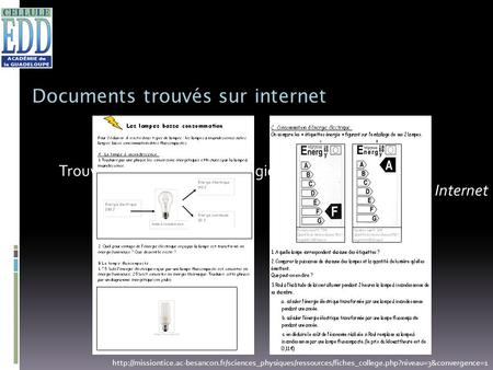 Documents trouvés sur internet