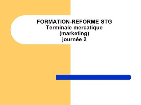 FORMATION-REFORME STG Terminale mercatique (marketing) journée 2.