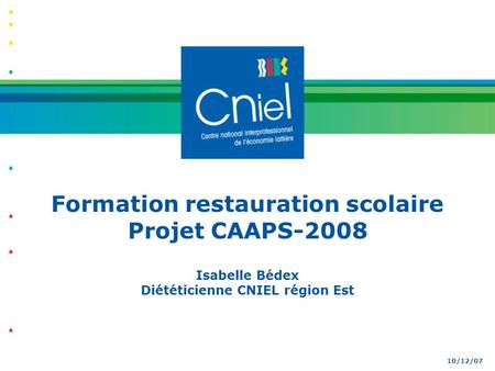 Formation restauration scolaire Projet CAAPS-2008