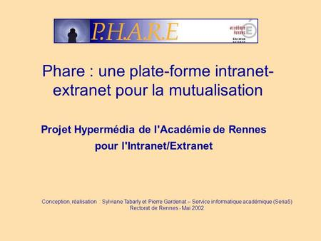 Phare : une plate-forme intranet-extranet pour la mutualisation