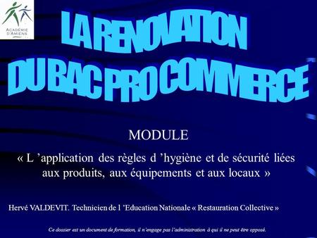 LA RENOVATION DU BAC PRO COMMERCE MODULE