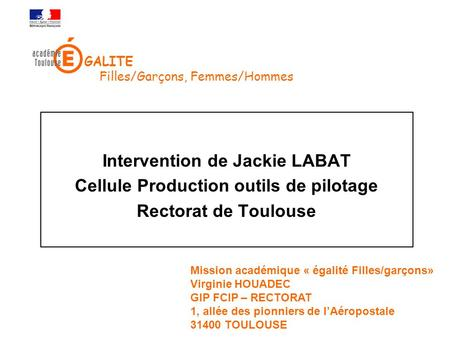 Intervention de Jackie LABAT Cellule Production outils de pilotage
