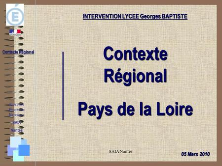 INTERVENTION LYCEE Georges BAPTISTE INSPECTION EDUCATION NATIONALE