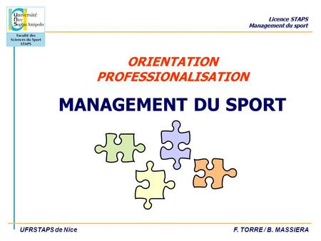 ORIENTATION PROFESSIONALISATION MANAGEMENT DU SPORT