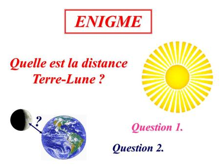 ENIGME Quelle est la distance Terre-Lune ? ? Question 1. Question 2.