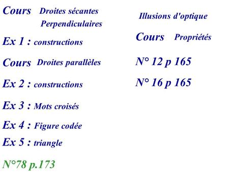 Cours Cours Ex 1 : constructions N° 12 p 165 Cours N° 16 p 165
