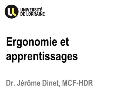 Ergonomie et apprentissages