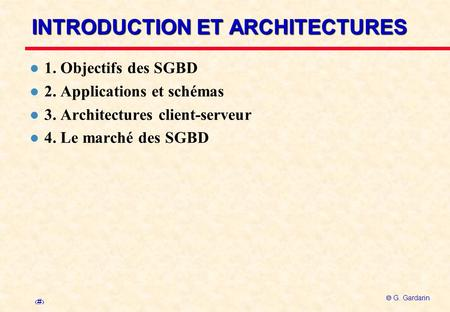 INTRODUCTION ET ARCHITECTURES