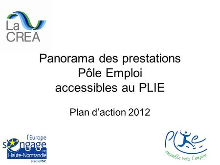 Panorama des prestations Pôle Emploi accessibles au PLIE Plan daction 2012.
