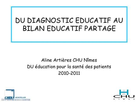 DU DIAGNOSTIC EDUCATIF AU BILAN EDUCATIF PARTAGE