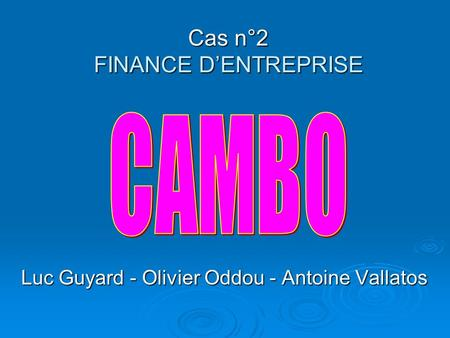 Cas n°2 FINANCE DENTREPRISE Luc Guyard - Olivier Oddou - Antoine Vallatos.