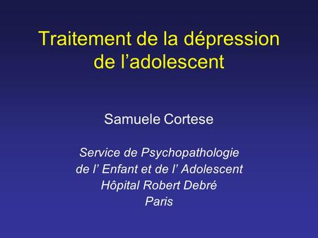 Traitement de la dépression de l'adolescent