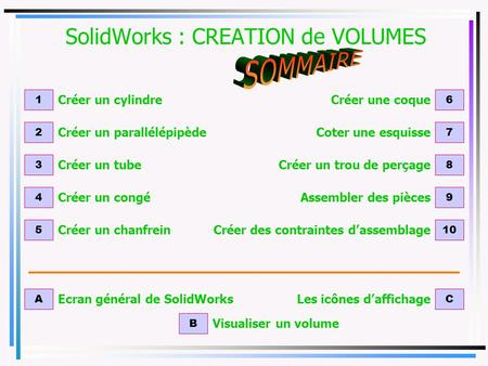 SolidWorks : CREATION de VOLUMES
