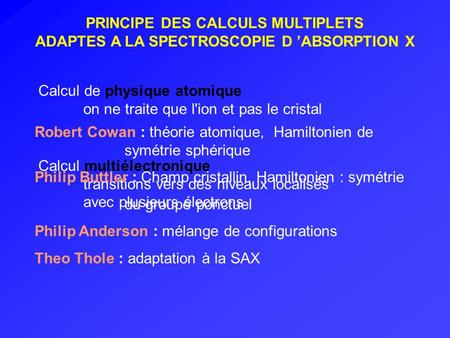 PRINCIPE DES CALCULS MULTIPLETS ADAPTES A LA SPECTROSCOPIE D ABSORPTION X Calcul de physique atomique on ne traite que l'ion et pas le cristal Calcul multiélectronique.