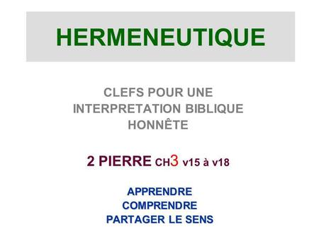 INTERPRETATION BIBLIQUE