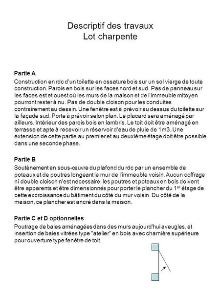 Descriptif des travaux Lot charpente