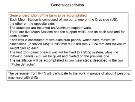 General description General description of the tasks to be accomplished Each Muon Station is composed of two parts: one on the Cryo side (US), the other.