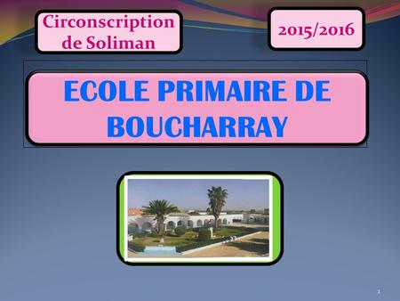 1 ECOLE PRIMAIRE DE BOUCHARRAY 2015/2016 Circonscription de Soliman.