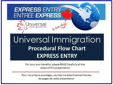 For your own benefits, please READ Carefully all the slides of this presentation Universal Immigration Procedural Flow Chart EXPRESS ENTRY Pour vos propre.