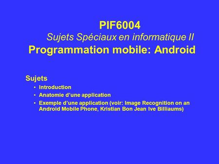 Programmation mobile: Android