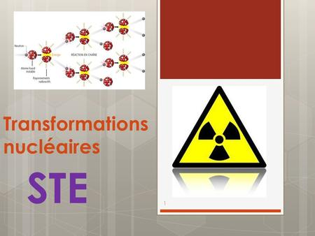 Transformations nucléaires 1 STE. Transformation chimique vs transformation nucléaire  Alors que les transformations chimiques impliquent le comportement.