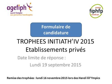 TROPHEES INITIATH'IV 2015 Etablissements privés