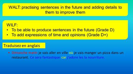 WILF: To be able to produce sentences in the future (Grade D)