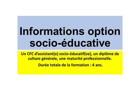 Informations option socio-éducative