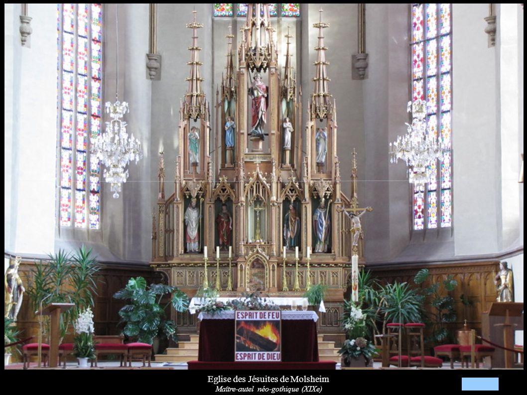 Eglise des Jésuites de Molsheim Maître-autel néo-gothique (XIXe): St-Georges entre deux anges musiciens