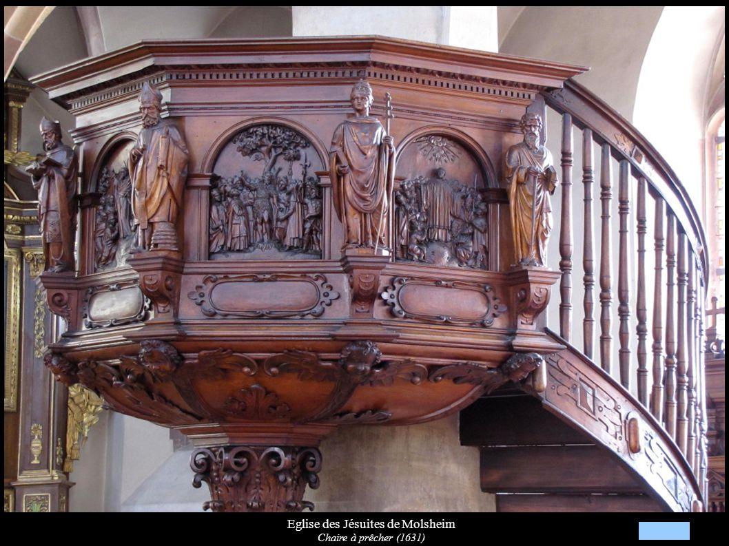 Eglise des Jésuites de Molsheim Chaire: Relief de St-Jean-Baptiste, Statues de St-Ambroise et St-Urbain